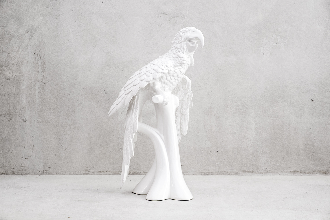 White Ceramic Parrot Sculpture
