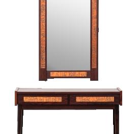 Danish Palisander Console & Mirror Set by J. Hølmer-Hansen