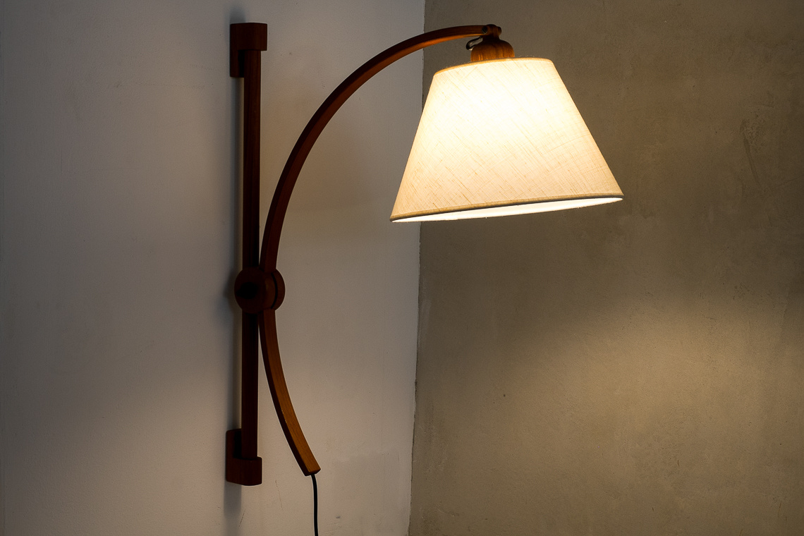 Adjustable Teak wall Lamp by Domus Denmark
