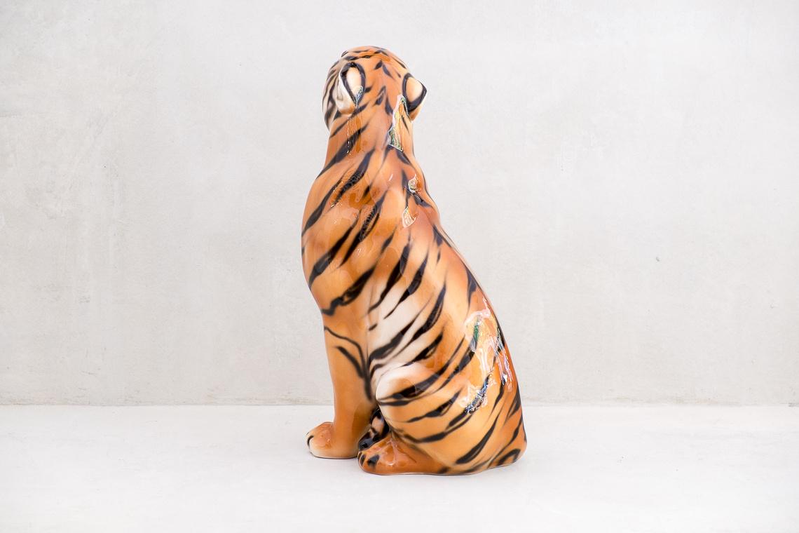 Italian Ceramic Tiger Sculpture