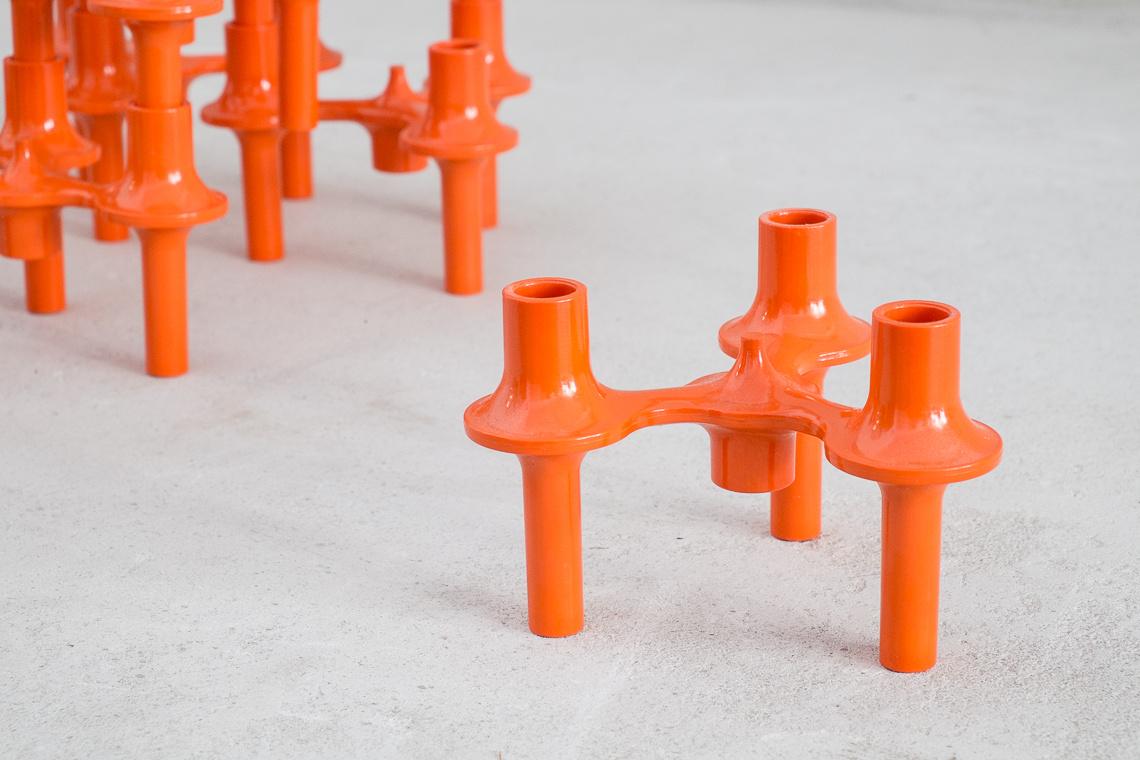 Set of 9 orange Modular Candelabra by SONTI