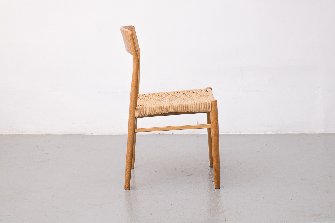 Set of 4 Paper Cord & Oak Chairs by KORUP STOLEFABRIK