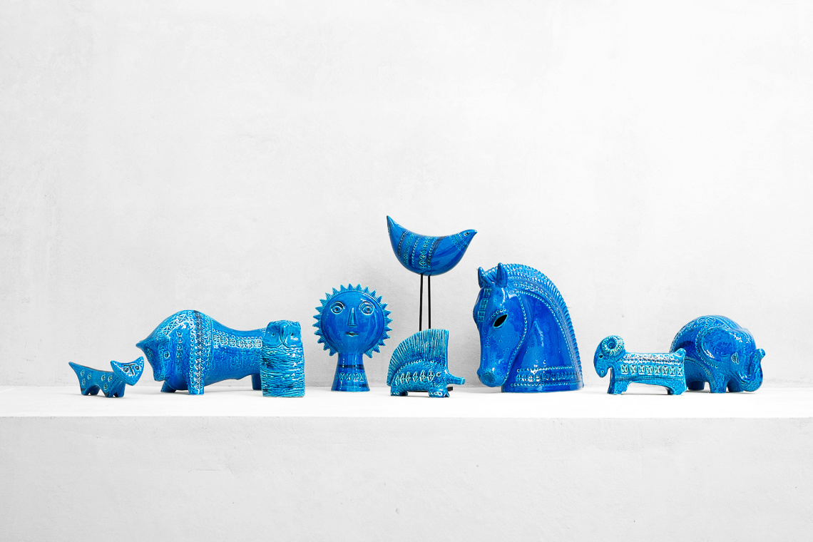 RIMINI BLUE HORSE AND TWO RIDER BY Aldo Londi for Bitossi