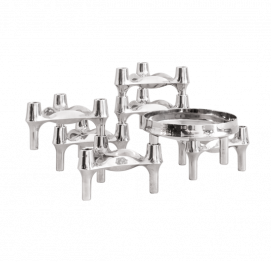 Set of 6 Chrome Candleholder + Bowl  Elements BY BMF