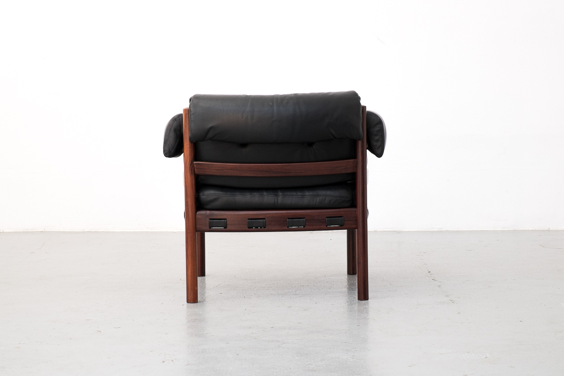 Leather & Rosewood Armchair by Sven Ellekaer for Coja