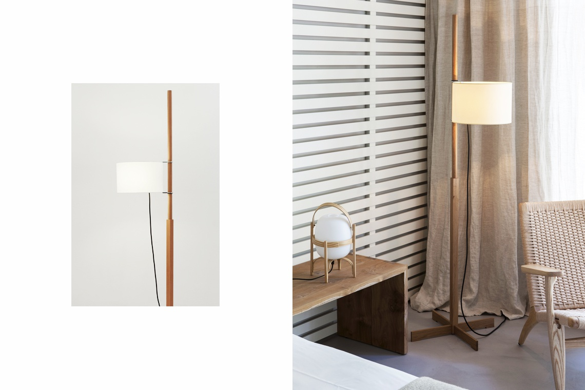 Floor lamp TMM walnut by Miguel Milà