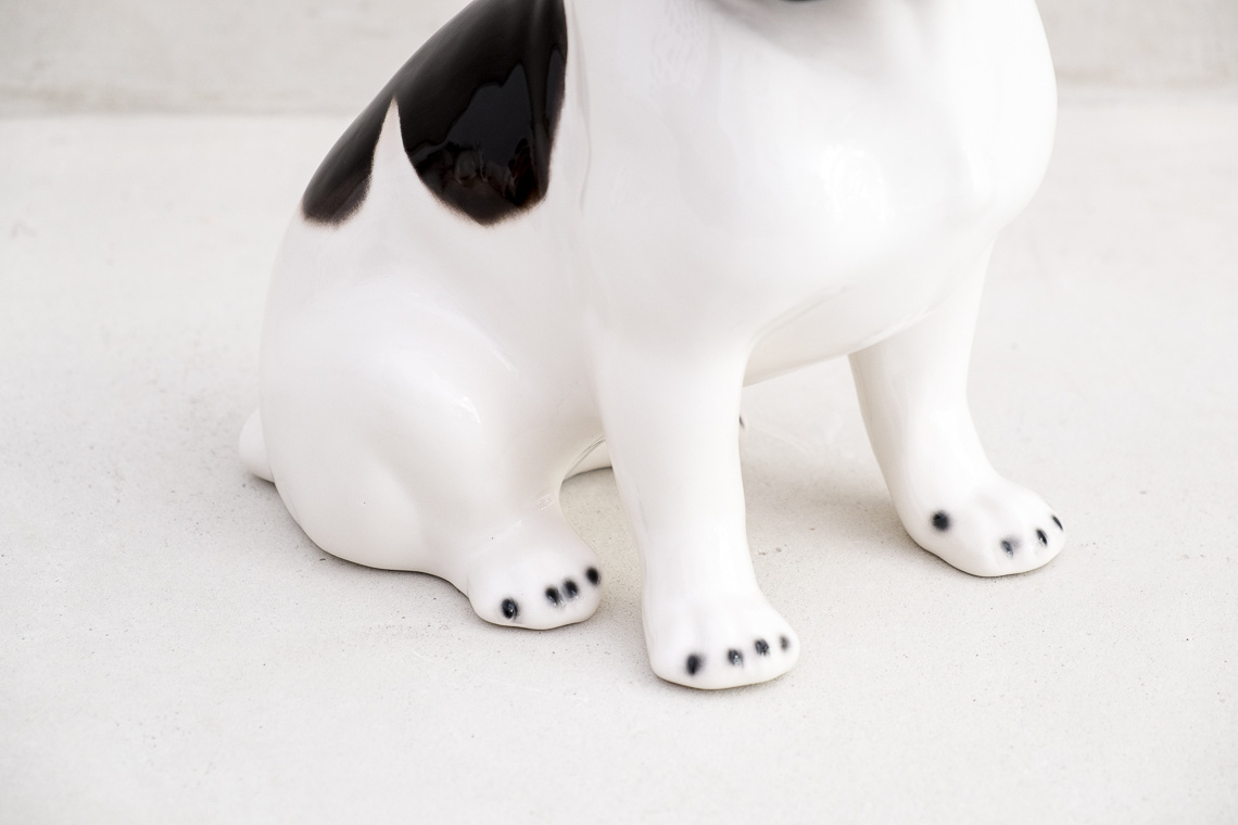 CERAMIC french BULLDOG SCULPTURE (34CM) MADE IN ITALY