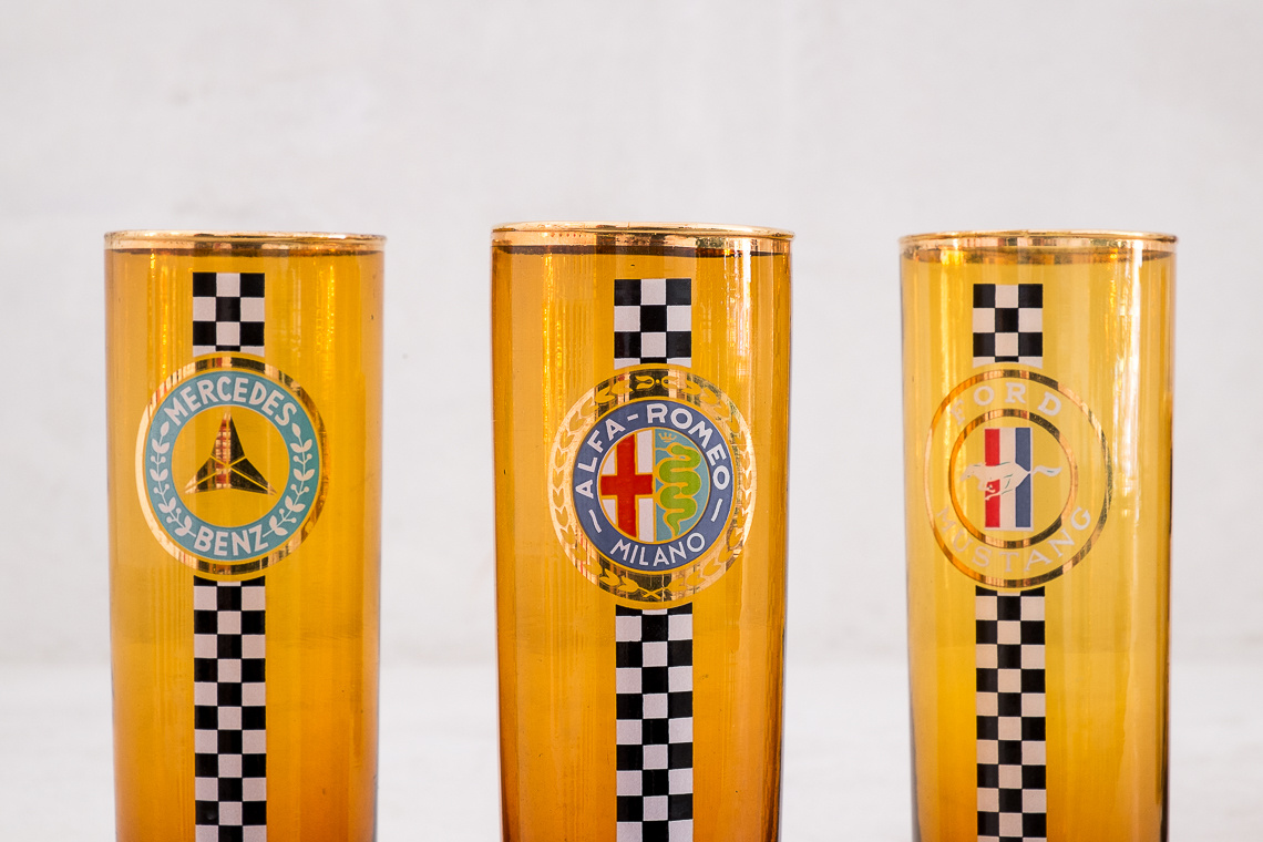 SET Cooler & 5 Glasses WITH automobile team MOTIFS