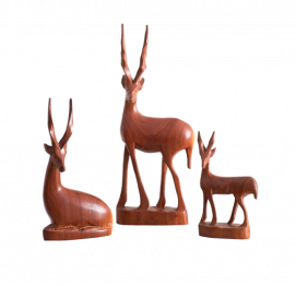 Set of 3 mid-century modern of Teak Gazelles Sculpture