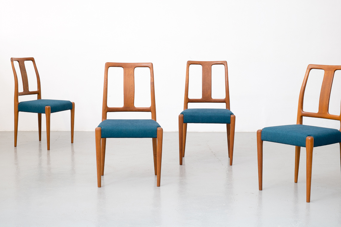 Set of four teak dining chairs by SAX