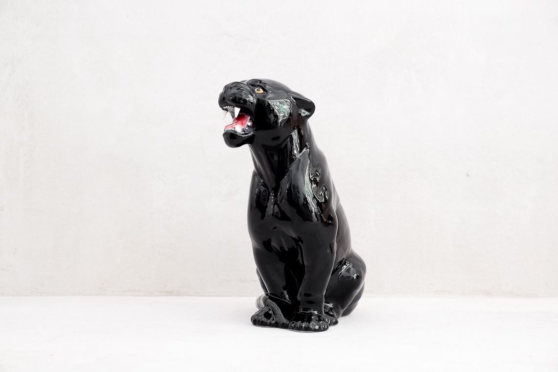 Small Black Panther Ceramic Italy Sculpture