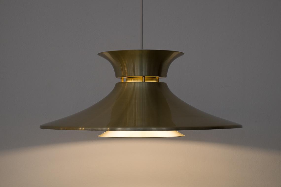 Danish Brass Hanging Lamp from Top Lamper