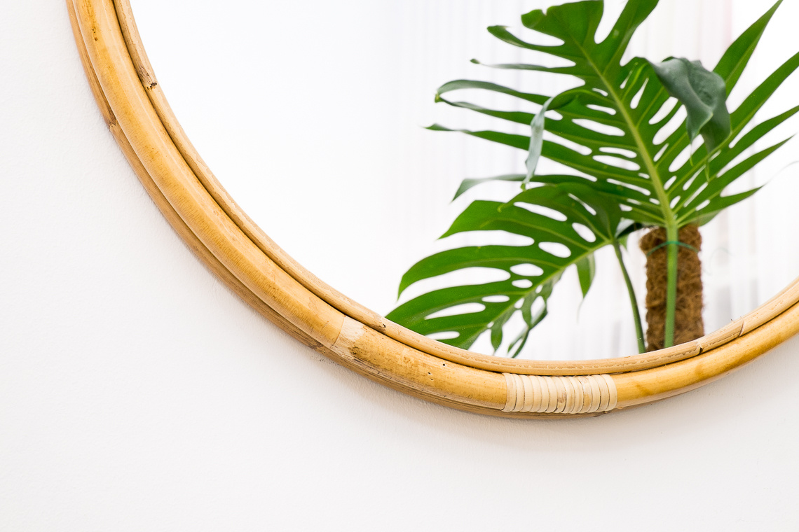 Wilson mirror medium in rattan
