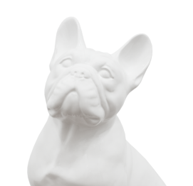 WHITE CERAMIC french BULLDOG SCULPTURE (34CM) MADE IN ITALY