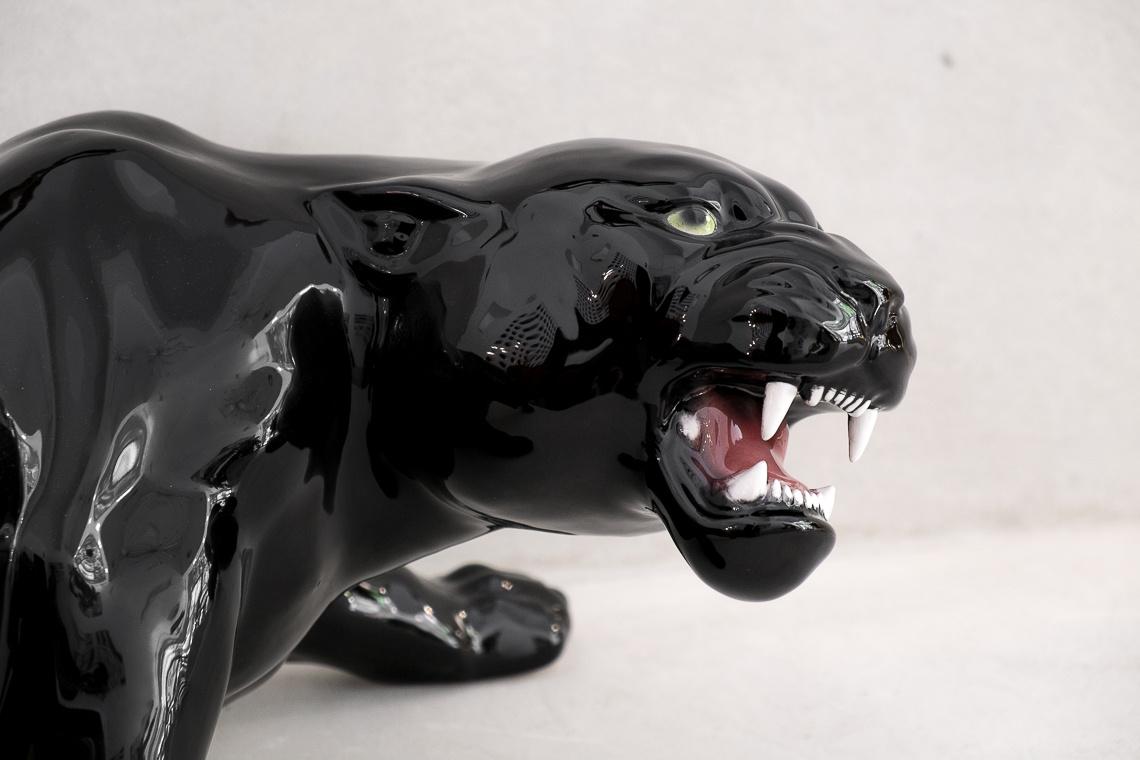 big black panther (27X87CM) ITALIAN CERAMIC SCULPTURE