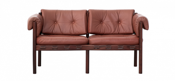 Leather & Rosewood Model 925 Sofa by Arne Norell for Coja, 1960s
